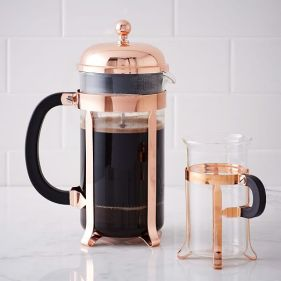 french press plunger brewing coffee